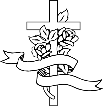 Drawings of crosses with roses clipart best for Cool rose coloring pages