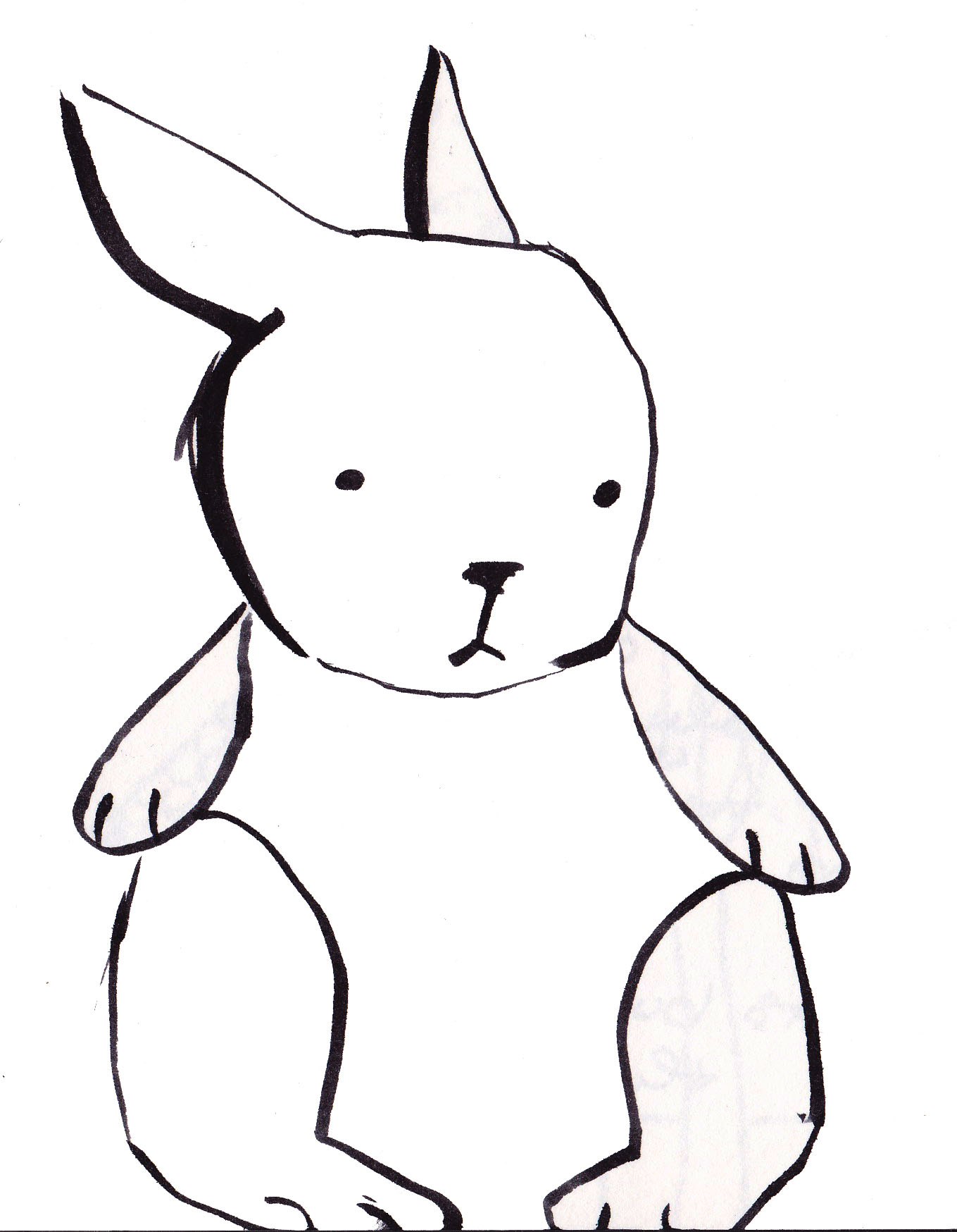 Line Drawings Of Cute Animals : Bunny line drawing clipart best