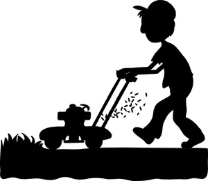 Lawn Mower Clipart Image - Silhouette of a man or boy mowing the lawn ...