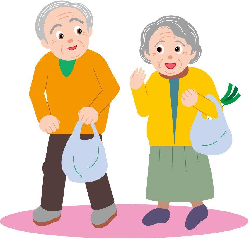 Vector cartoon clip old couple go shopping | Vector Images ...