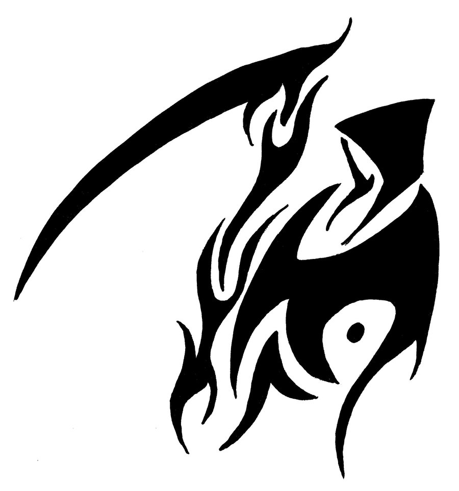Reaper With A Tribal Tattoo Around It - ClipArt Best