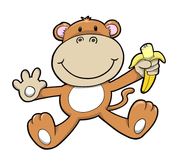 Baby Monkey with Banana : Custom Wall Decals, Wall Decal ... - ClipArt ...