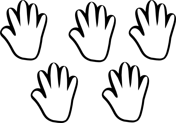 Child Handprint Black White 5 Clip Art