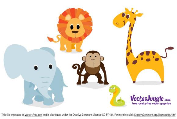 Zoológico De Animais Bebê Dos Desenhos Animados Vetor: Free Vector Animals