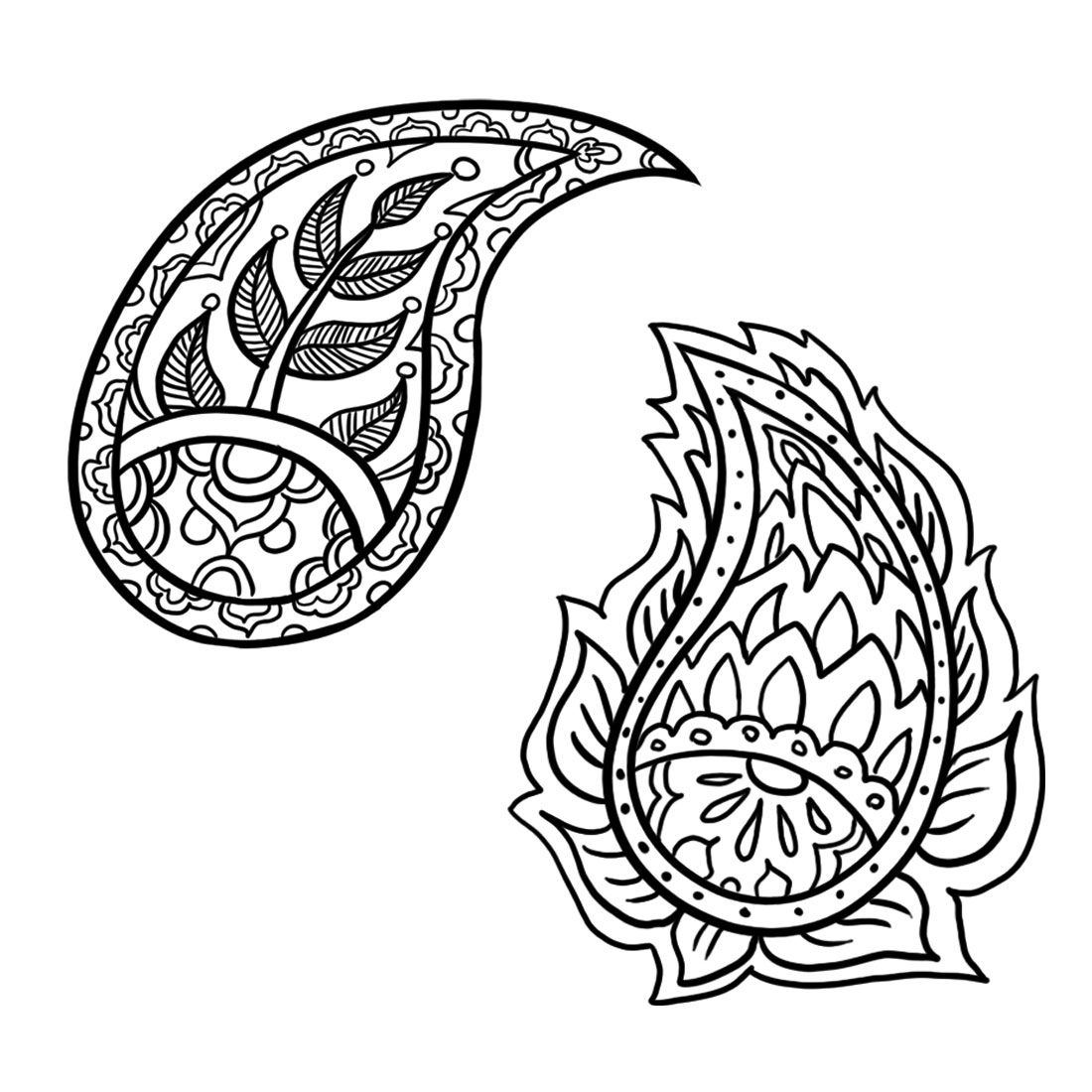 Paisley design paisley pattern mandala coloring pages for Drawing patterns for beginners