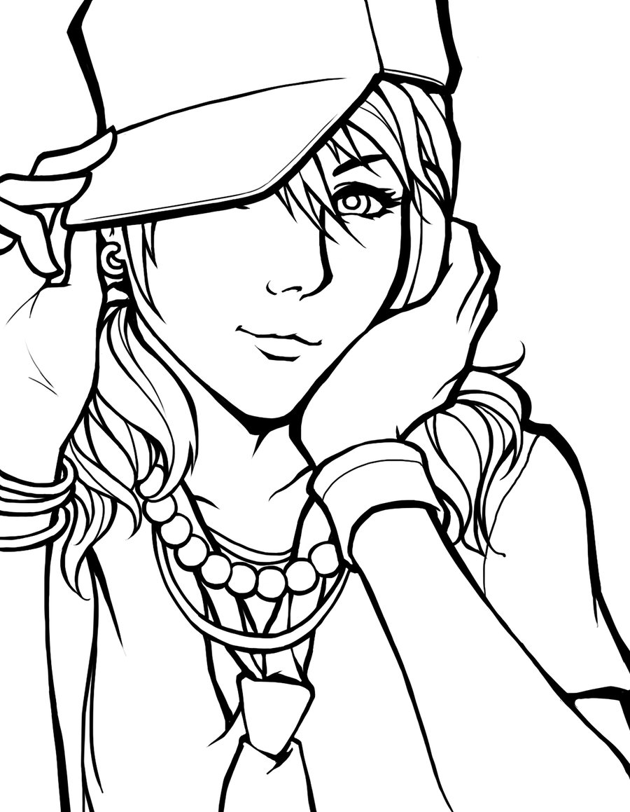 Line Drawing Girl : Line art clipart best