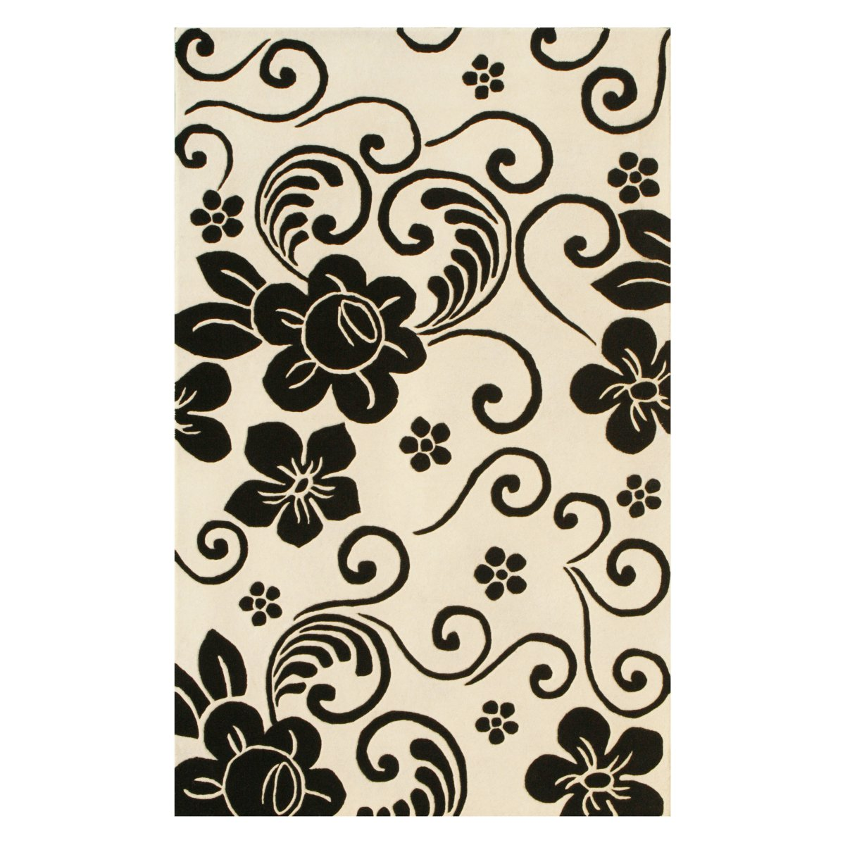 Noble House Floral Area Rug White Black Area Rugs At