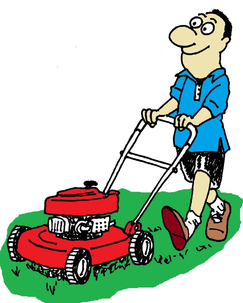 Cartoon Man On Mower : Lawn care clip art clipart best