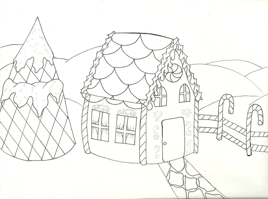 Gingerbread House Coloring Page Gingerbread house lineart