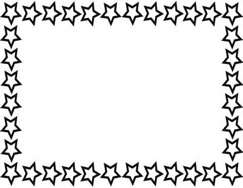 Star black and white border clipart