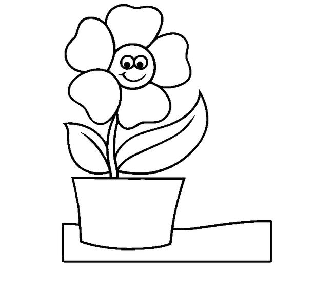 Flower Pot Coloring Page Clipart Best Simple Flower Pot Draw Color It