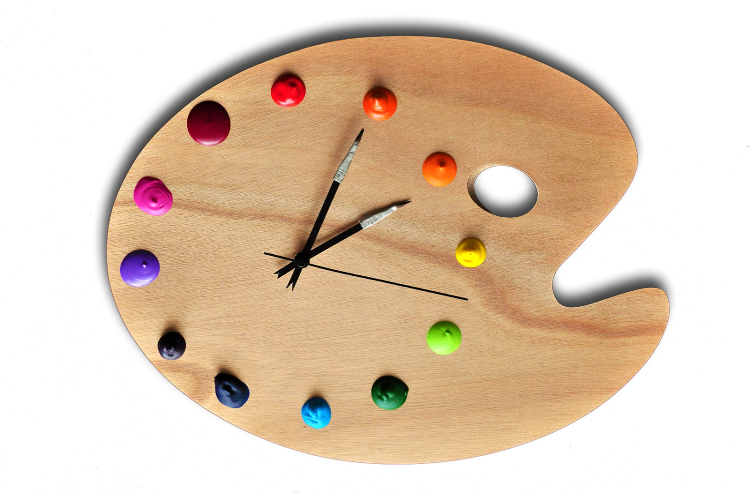 Artist Palette Wall Clock with Real Paint Globs by