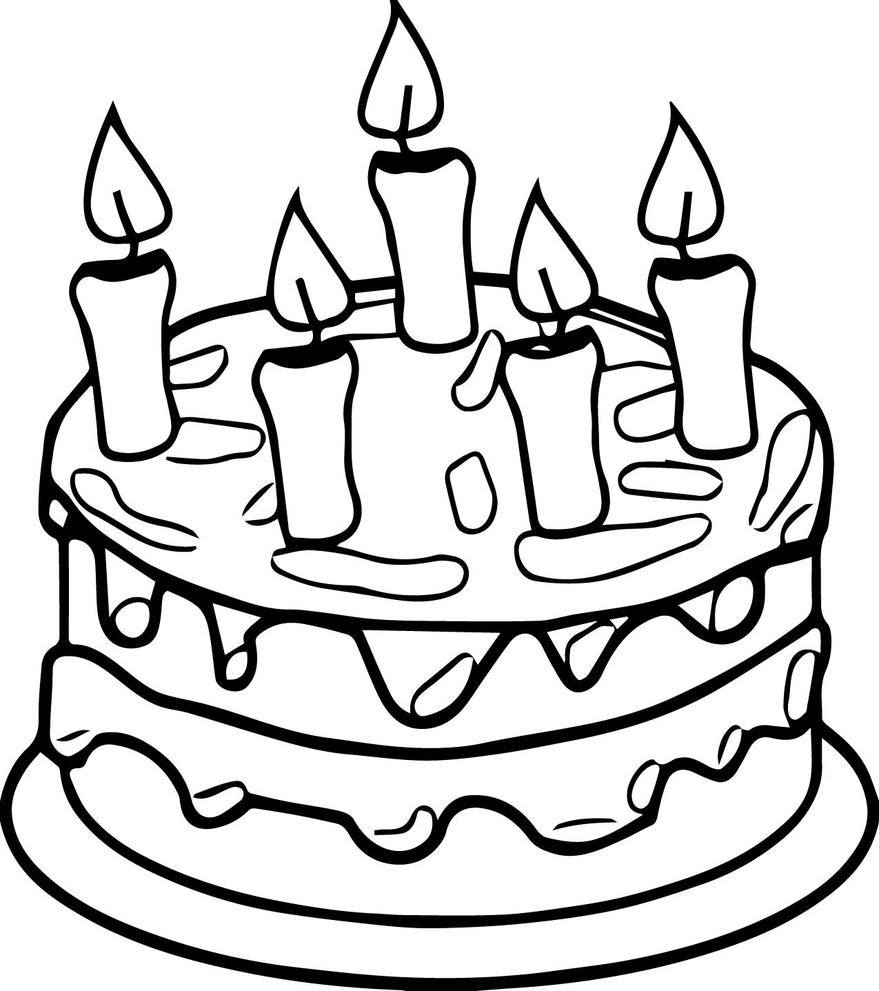 Pictures Of Cake To Colour In : Birthday Cake Colouring Pages - ClipArt Best