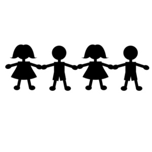 Stick people holding hands clipart black and white - ClipartFox