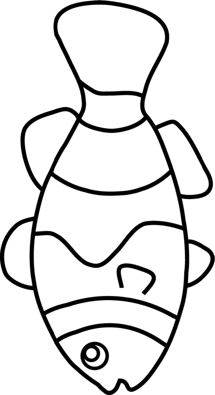Clown fish outline clipart best for Printable fish template