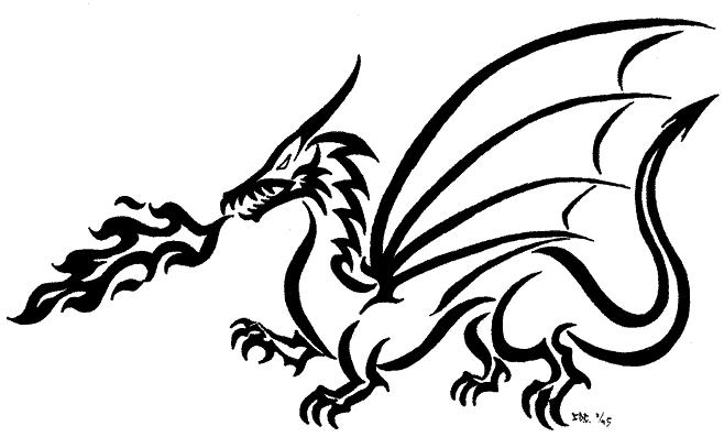 Line Drawing Dragon Tattoo : Line drawing dragon clipart best
