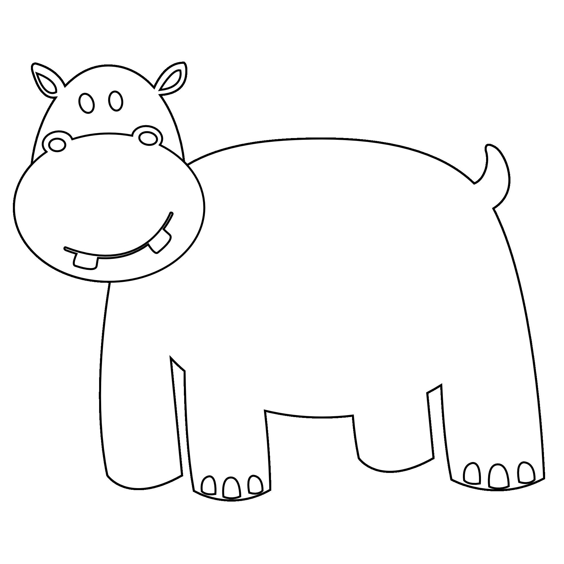 Line Art Hippo : Clip art hippo black white line xmas clipart