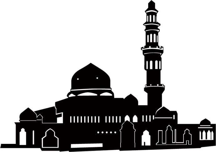 vector silhouette masjid mosque webby dzine download