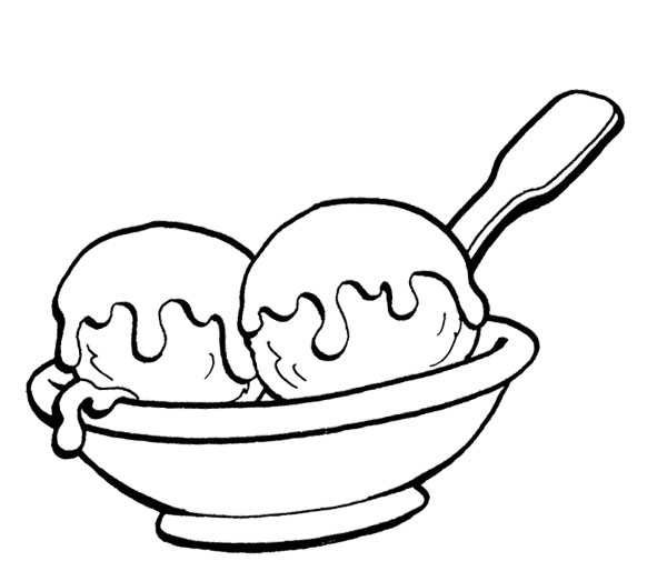 ice cream scoop black and white clipart - photo #49