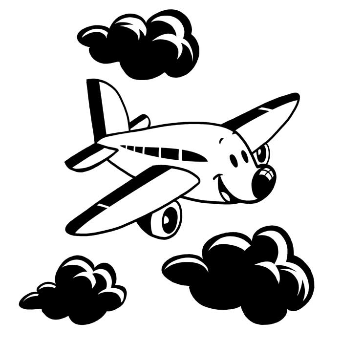 Airplane Cartoon Black And White - ClipArt Best