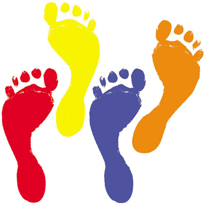 Kids Feet In Shoes Outline