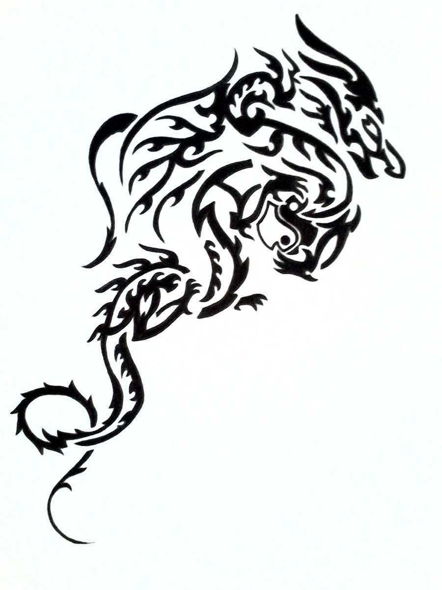 Line Drawing Dragon Tattoo : Black dragon drawings clipart best