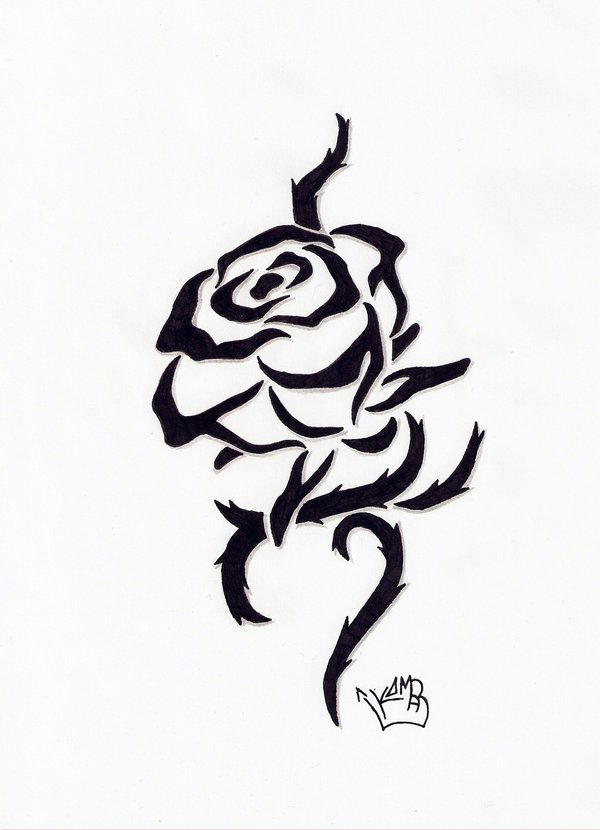 Tribal rose clipart best for Tribal rose tattoo designs