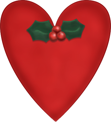 Red Christmas Heart with Holly Graphic - PNG and Paint ...