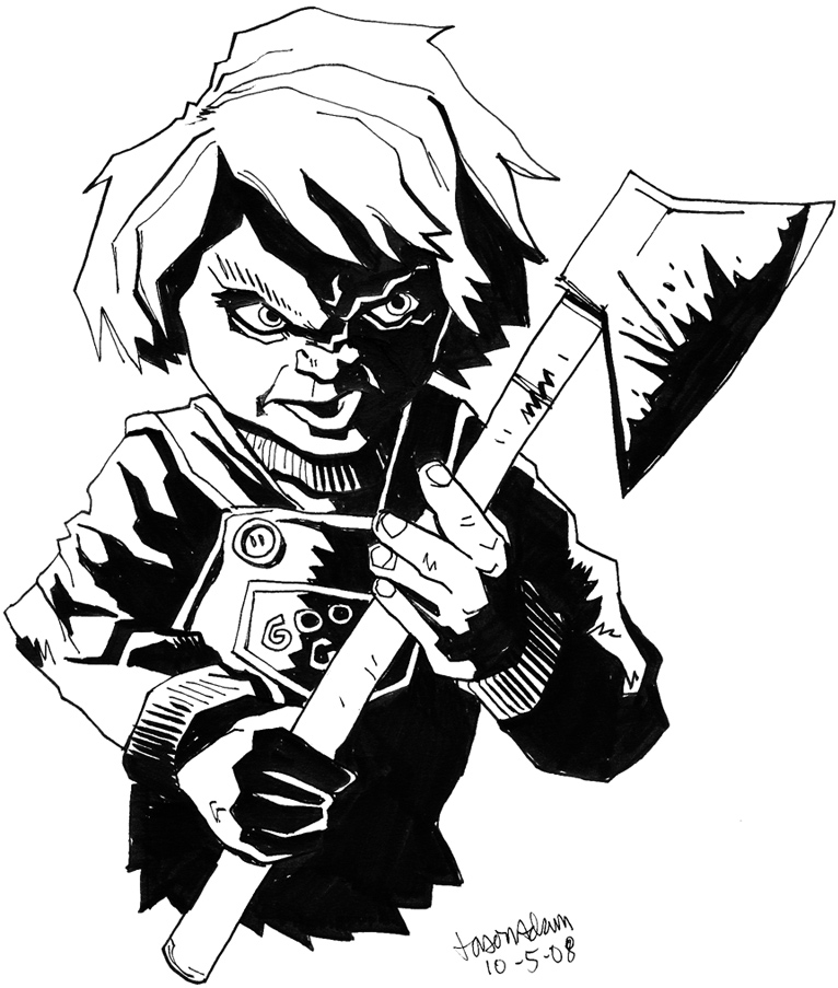 Chucky Clipart Black And White: Sketch Please » Horror Icon