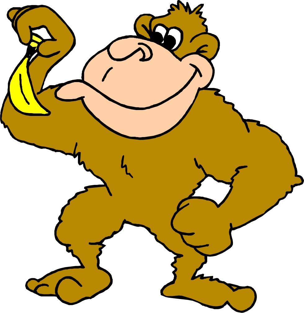 Cartoon Monkey Eating A Banana - 283.0KB