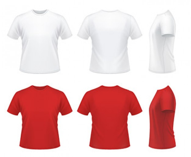 Red and white T-shirt Vector material | Download free Vector