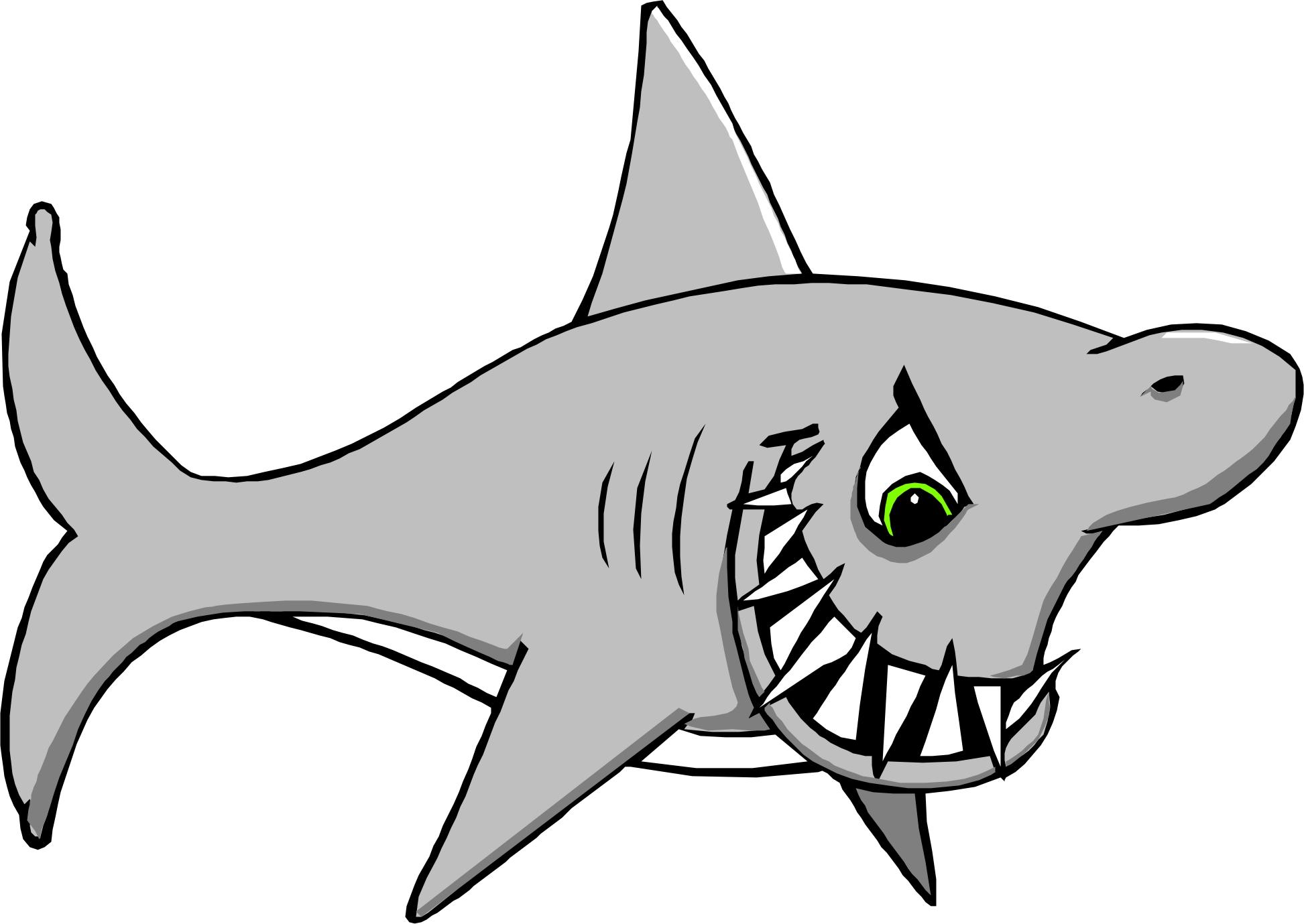 Cute shark clipart black and white - photo#21