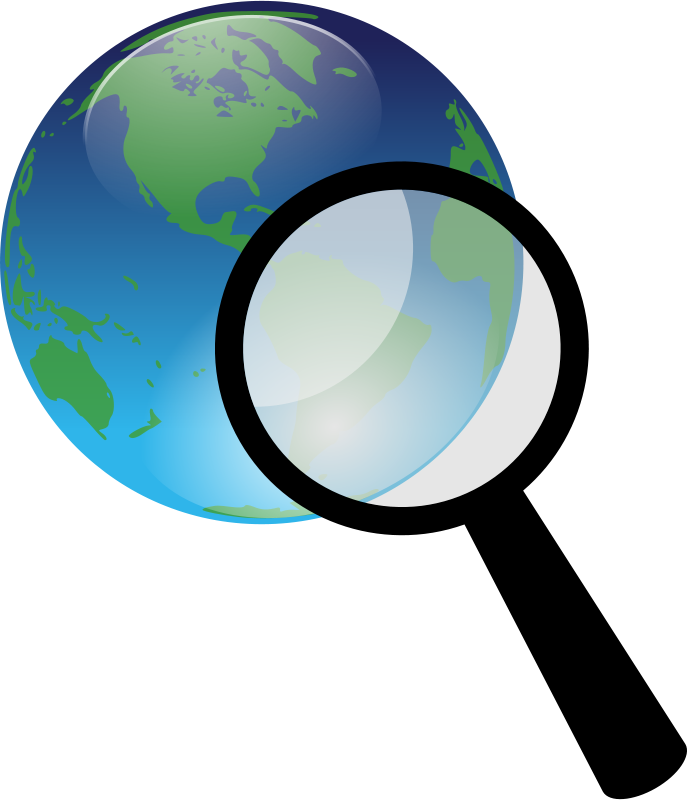Clipart - Earth and magnify glass