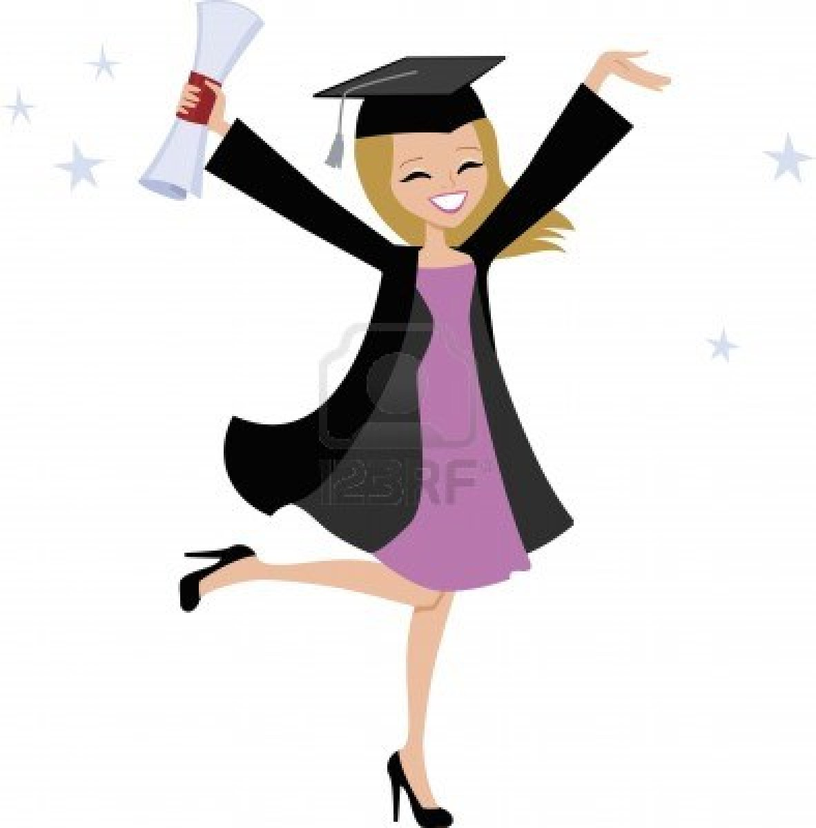 Cartoon Girl Graduating College