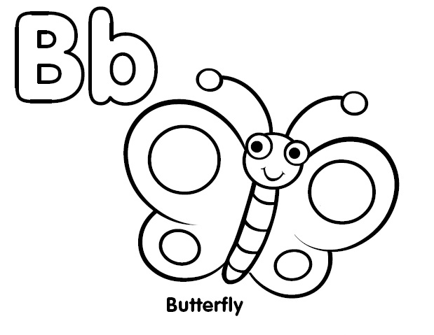 Alphabet coloring letter b coloring butterfly coloring child