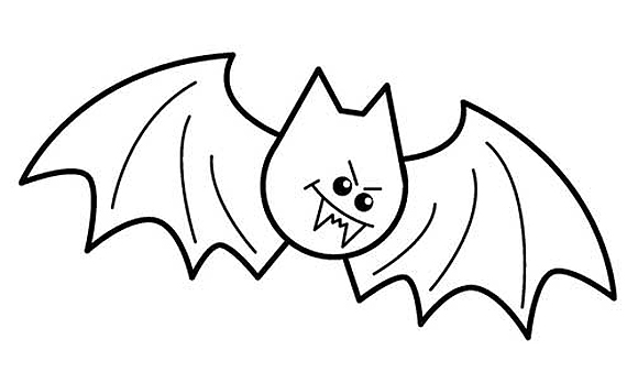 Easy Draw Bat Sketch Coloring Page