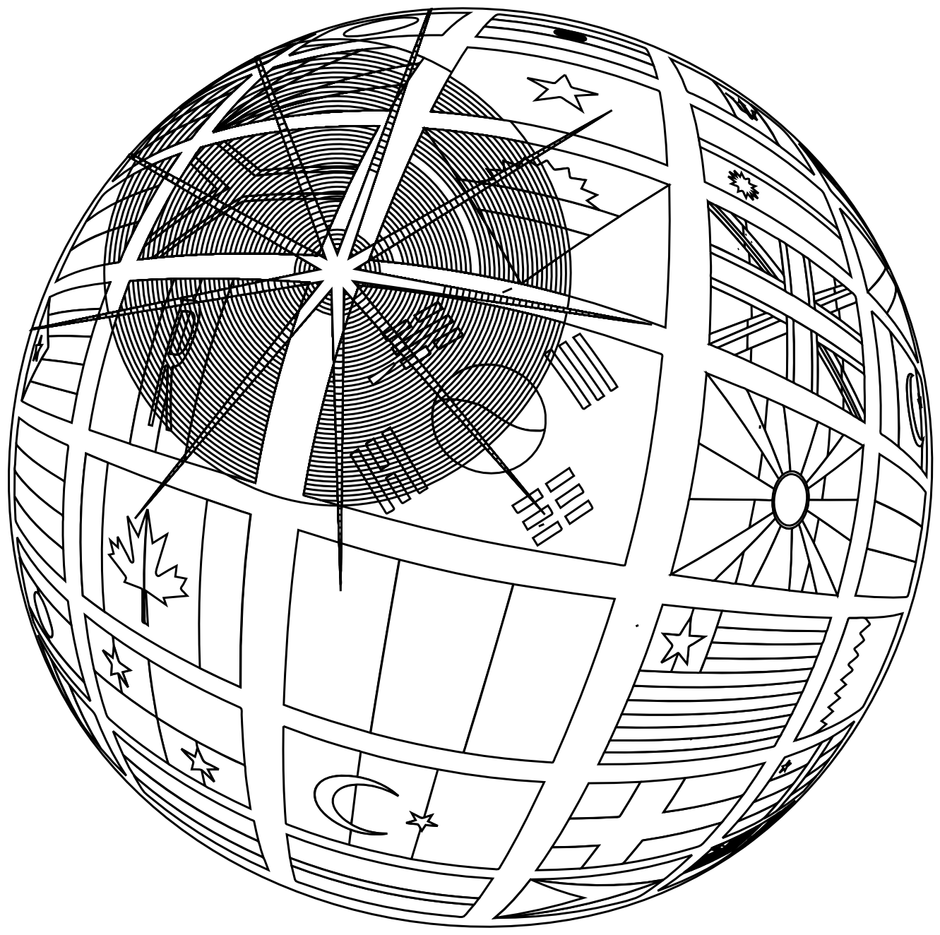 Line Art Globe : Globe black and white clipart best