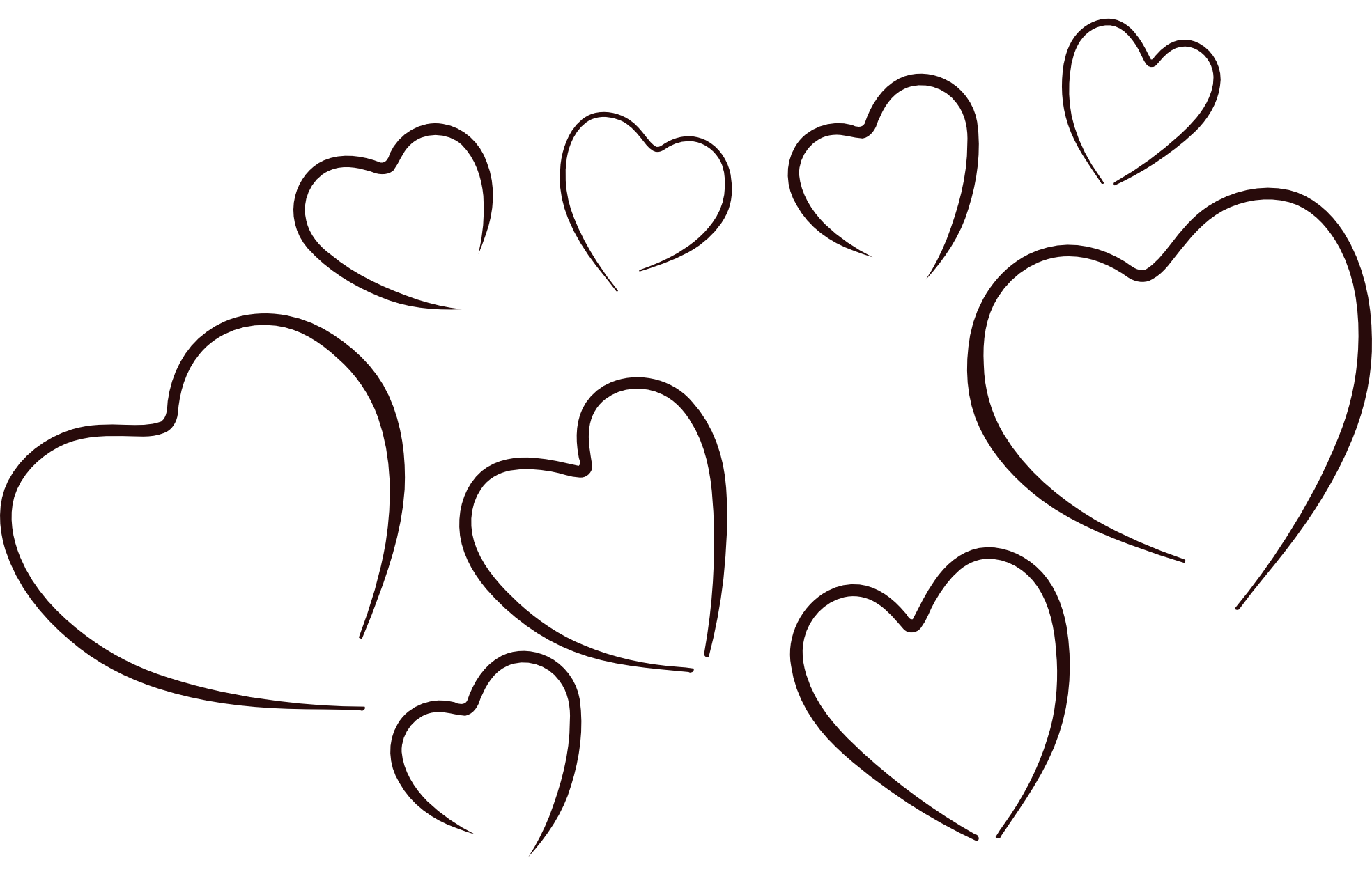 Black and white hearts clip art