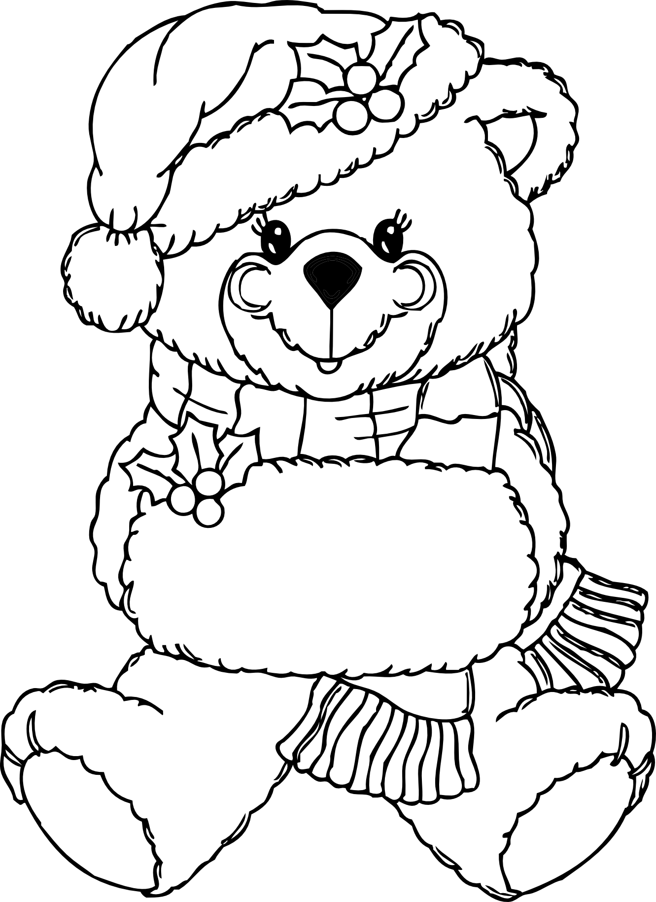 Christmas Bear Black White Line Art Xmas Teddy Bear Stuffed Animal ...