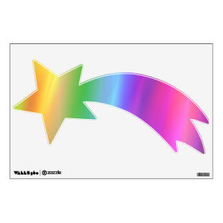 shooting star rainbow artwork wall decal clip stars clipart zazzle