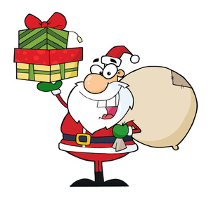 Christmas Presents Clipart Image - Santa Claus Delivering Presents ...