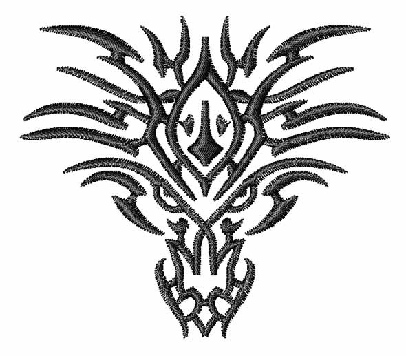 Heads Embroidery Design  Tribal Dragon Tattoo from Embroidery PatternsTribal Dragon Head Designs