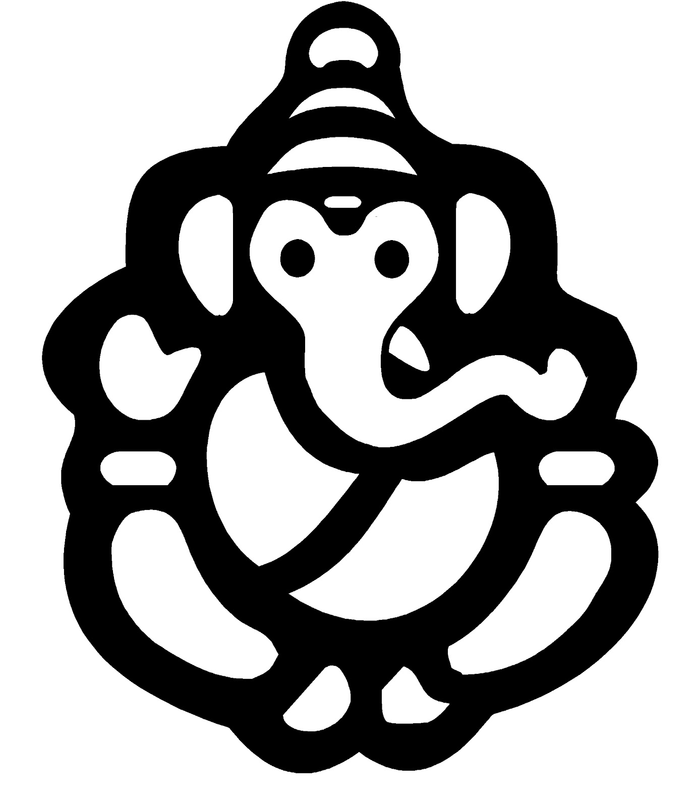 Pin Ganesh Clip Art Black Outline Drawing White Hands Line God ...
