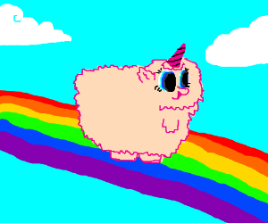 Fluffy on pink rainbows dancing unicorns SONGS TO