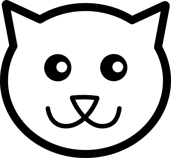Line Drawing Face Vector : Outline of cat face clipart best