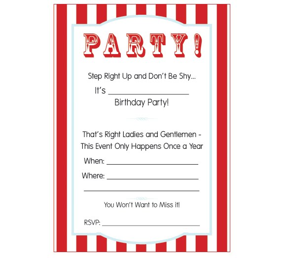 Carnival Party Invitation Templates – Free Printable Ticket Style Invitations