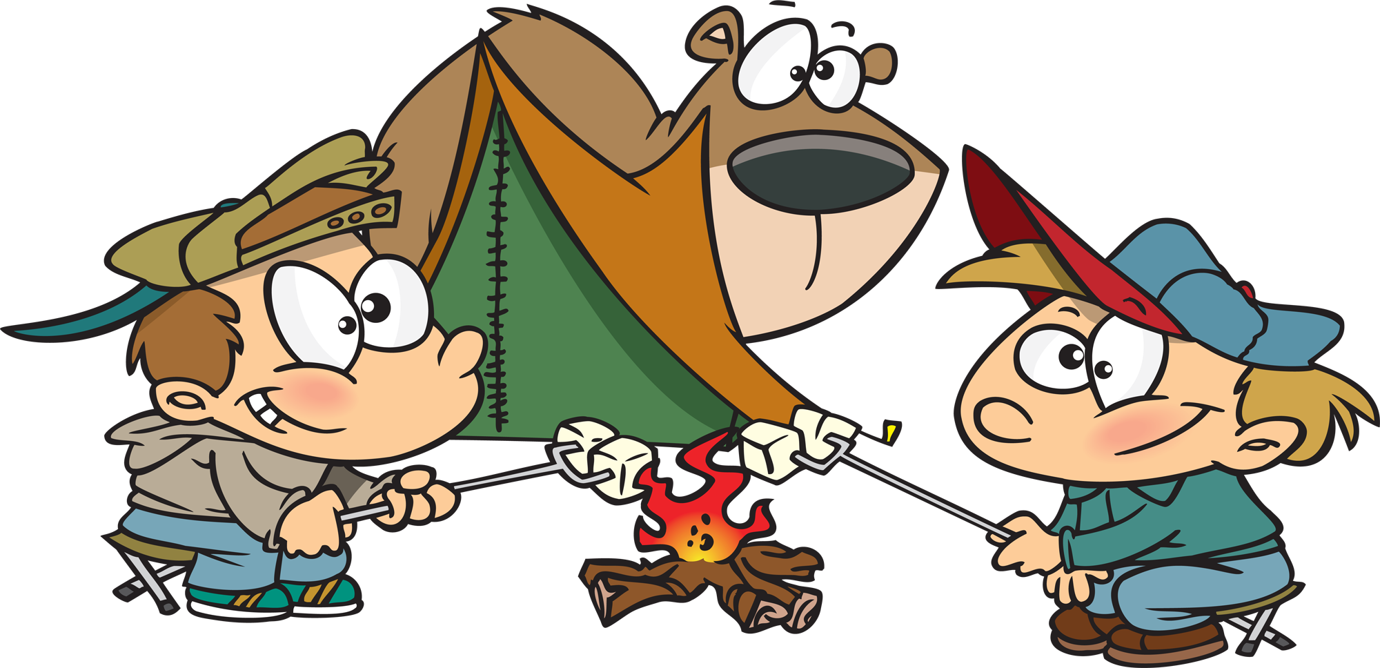 Kids camping cartoon
