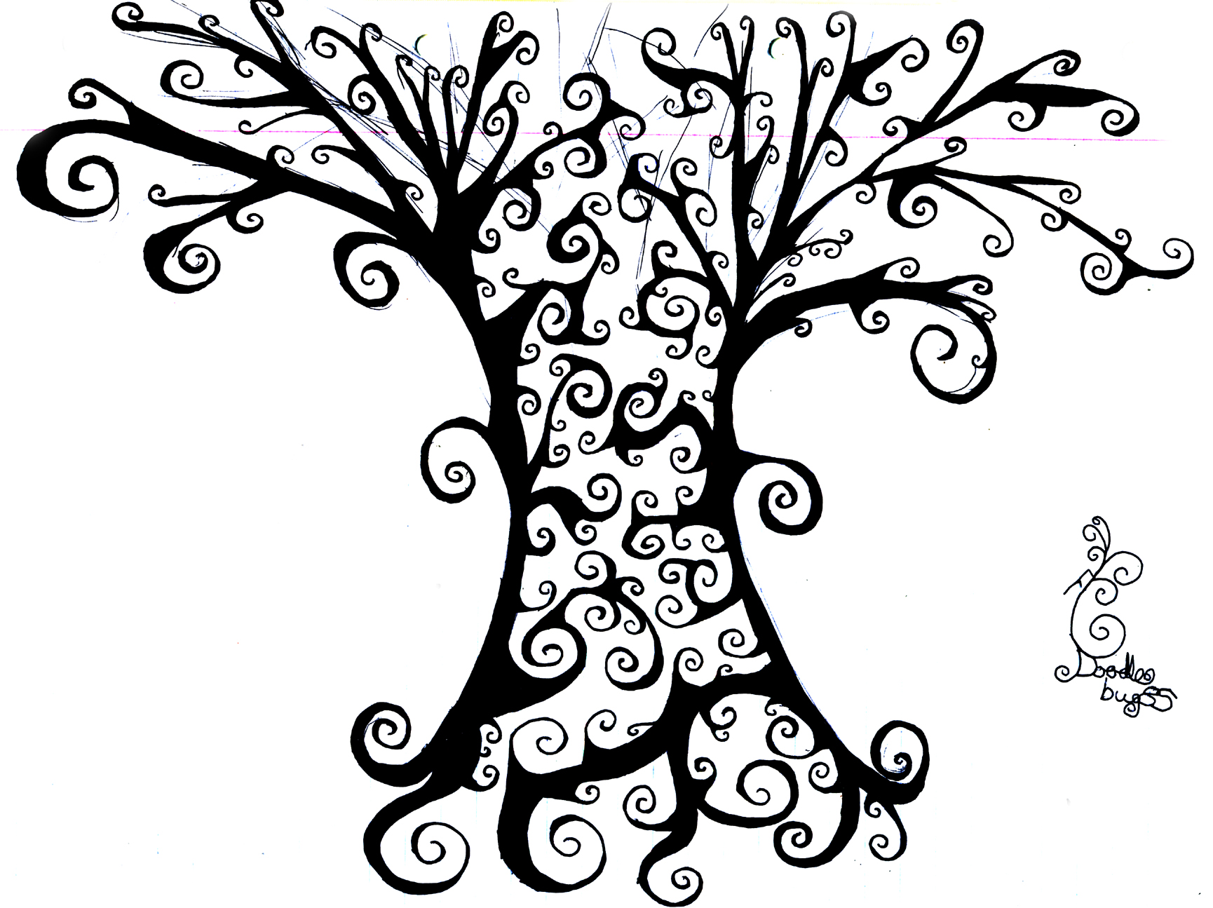Tree Line Art Design : Tree line drawings clipart best