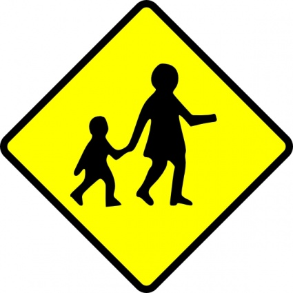 Road Safety Clip Art Children crossing caution clip