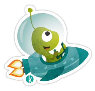 "Cute Alien In A Spaceship"" Stickers by katelein 